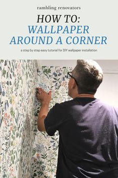 DIY wallpaper installation, how to apply wallpaper around a corner, how to match wallpaper patterns, wallpaper installation Sea Wallpaper, Wallpaper Patterns, Wallpaper Paste, Wallpaper Decor, Decorating A New Home, Decorating On A Budget, Decorating Blogs, Wallpaper Installation, How To Apply Wallpaper