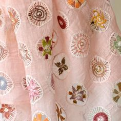Superb pure linen hand embroidered and hemstiched pink stole by Sophie Digard