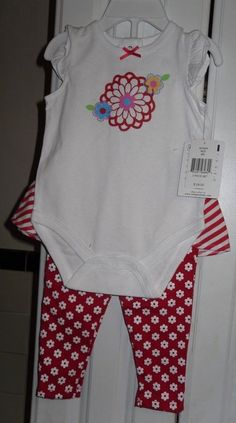 INFANT BABY OUTFIT 6 MO. VITAMINS BABY. SET RED.WHITE FLOWER STRIPE 2 PC. NEW #VitaminsBaby #Everyday