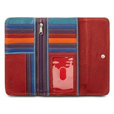 Travelon RFID Leather Safe ID Color Block Clutch Wallet, Red #Travelon