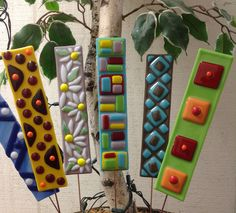 Fused Glass Garden Stakes Class. Stained Glass Express - Manchester, Maine. Cost includes materials, instruction, pizza and beverages!