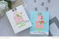 Guest Designers – Bibi Cameron – Ink to Paper Birthday Cake Card, Happy Birthday, Travel Stamp, Embossed Paper, Tiny Flowers, Handmade Birthday Cards, Cake Creations, Clear Stamps, Paper Piecing