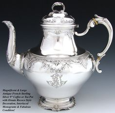 Antique French Sterling Silver 9 Coffee or Tea Pot, Ornate Rococo Style