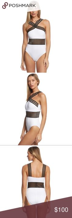 Kenneth Cole one piece swimsuit NWT Kenneth Cole, one piece bathing suit, white with black bands with mesh, high crisscross neckline, removable pads and full coverage fit. Great for poolside, beach or boat!                                                                     NEW WITH TAGS  • Bundle for 10% off  • 5 star rating • Fast shipper • 100+ sales • Smoke free home• 100% authentic  N O  TRADES  Tags: one piece swim suit, 1 piece bathing suit, onepiece, white bathing suit Kenneth…