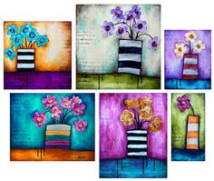 Donna Downey flower paintings in striped vases