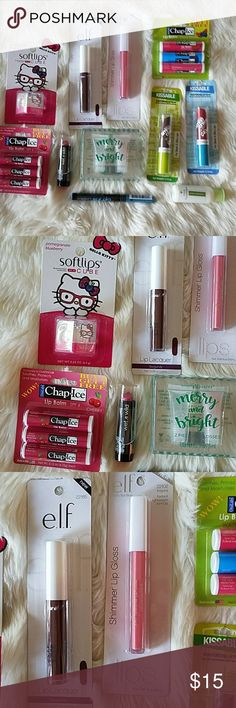 Lot of 11 NWTs makeup items Elf, Chap-Ice, Covergirl, etc ELF Makeup Lip Balm & Gloss