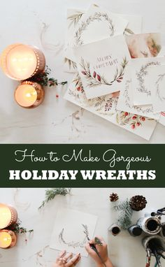 Free video tutorial! How to draw gorgeous holiday wreaths. floral Christmas wreaths, calligraphy wreaths, hand lettering, watercolor wreaths. Just enter your email to get the free video series