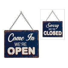 VINTAGE STYLE Open and Closed WALL PLAQUE SIGN Blue/White Metal on Chain