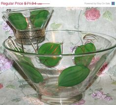 Vintage Anchor Hocking Chip Dip Bowl Set Hand Painted with Gold Gilt