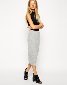 Grey pencil skirt in jersey