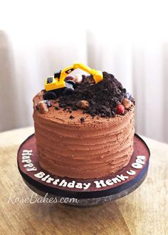 This little Excavator Cake was easy to make and perfect for that boy or man in your life who loves to play in the dirt! Digger Birthday Cake, Tractor Birthday Cakes, Digger Cake, Toddler Birthday Cakes, 2nd Birthday, Fondant Flower Cake, Cupcake Cakes, Fondant Bow, Fondant Tutorial