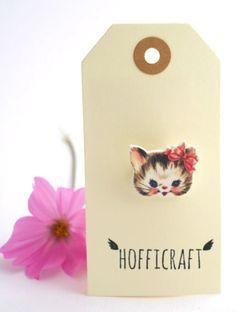 Pink Kitty Brooch £5.00 Shrink plastic Brooch. Handmade by Hofficraft on Folksy.