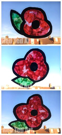 Easy DIY Poppy Suncatchers - this is a great Remembrance Day Activity for Preschoolers. It looks really effective and is a great way to start a conversation about Remembrance Day and why we observe it! This Summer Flower also makes a great Summer Craft fo Poppy Craft For Kids, Art For Kids, Art And Craft, Art Children, Remembrance Day Activities, Remembrance Day Poppy, Toddler Crafts, Preschool Crafts, Crafts For Kids