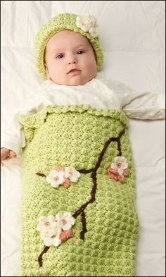 so cute!  Apple Blossom Baby Cocoon April 2013 Crochet World
