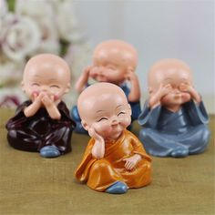 Sculptures & Figurines Speak Hear See Think No Evil Buddha Monk Statues Resin Car Desk Shelf Decor & Garden Baby Buddha, Little Buddha, Budha Statue, Small Buddha Statue, Buddha Decor, Car Accessories For Guys, Gif Disney, Cute Cars, Cute Images