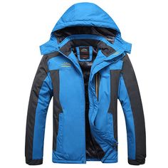 Mens Outdoor Waterproof Windproof Fleece Plus Thick Warm Mountaineering Jackets Big Size S-7XL at Banggood