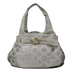 Look Here! Coach Buckle In Signature Large Grey Hobo ENG Outlet Online