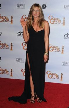 Buy Jennifer Aniston Black One Shoulder Dresses at 2010 Golden Globe Awards Red Carpet Dress from celeblish.com
