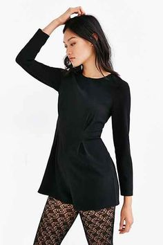 Lucca Couture Crepe Long Sleeve Romper - Urban Outfitters