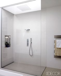 Modern bathroom is creating a simplistic and clean feeling. To design your modern bathroom, be certain that you use geometric shapes and patterns, clean lines, minimal colors and mid-century furniture. Modern Shower, Modern Bathroom, Small Bathroom, Master Bathroom, Master Shower, Bathroom Faucets, Bathroom Ideas, Bad Inspiration, Bathroom Inspiration