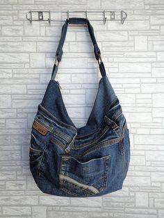 Slouchy shoulder bag handbag purse recycled upcycled jeans by BukiBuki