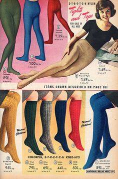 Colourful tights and socks from the NBH catalog, 1964. #vintage #1960s #tights #socks #hosiery #fashion #catalogs