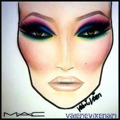 "Valerie Vixen ""Too Funky"" face chart"