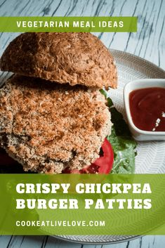 Crispy Chickpea Burger Patties | These patties are perfect for a sandwich or chopped up on a salad. And your kids will LOVE them shaped into nuggets and served with their favorite dipping sauce. The flavor and texture and spot on! | #vegan #burger #chickpeas #veggieburger #mealprep www.cookeatlivelove.com