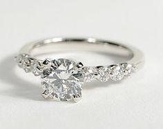 Floating Diamond Engagement Ring in 18k White Gold #BlueNile #Engagement