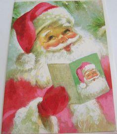Unused Vtg Christmas Card Cute Santa with Santa Christmas Card