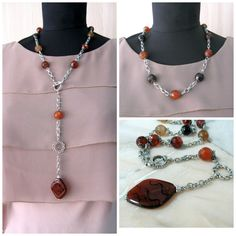Orange Brown Lariat Necklace Natural Gemstone Agate Carnelian Diamond Pendant on beaded chain rustic chunky transformer pendant necklace - pinned by pin4etsy.com