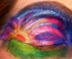 Eye makeup, sunrise sunset crazy eye shadows unique different bold bright art designs