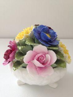 Vintage Aynsley Hand Painted Fine Bone China Flower Basket Garden Decor 1960s
