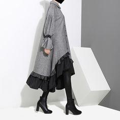 Loose Split-joint Falbala Lapel Blouse Dress - Women's style: Patterns of sustainability Dress Outfits, Casual Dresses, Casual Office Wear, Hijab Fashion, Fashion Outfits, Iranian Women Fashion, Blouse Dress, Mode Inspiration, Ruffle Dress