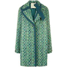 Marco de Vincenzo Green Tweed Double Breasted Coat (48.740 RUB) ❤ liked on Polyvore featuring outerwear, coats, jackets, green coat, long sleeve coat, tweed coat, tweed wool coat and marco de vincenzo