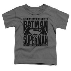 Batman V Superman/Title Fight Short Sleeve Toddler Tee in Charcoal, Toddler Boy's