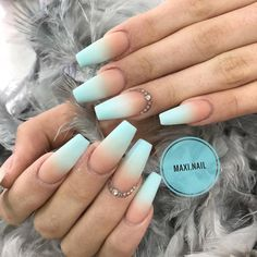 Blue Ombre Nails, Blue Acrylic Nails, Summer Acrylic Nails, Acrylic Nail Designs, Spring Nails, Fake Nail Designs, Ombre Nail Colors, Mint Green Nails, Blue Matte Nails