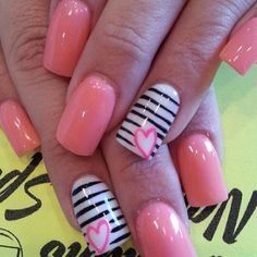 See more about heart nails, nail designs and pink nails. Fancy Nails, Love Nails, Diy Nails, Pretty Nails, Heart Nail Designs, Nail Art Designs, Nails Design, Nail Art 2014, Nagel Hacks