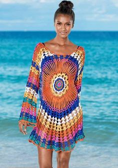 Sexy Rainbow Beach Dress Tunic Women Crochet Knitted Bikini Cover Up Beach Wear Long Cotton Pareo Summer Swimsuit Cover-Ups Bikini Cover Up, Swimsuit Cover Ups, Dms Boutique, Venus Swimwear, Bikini Swimwear, Swimsuits, Sexy Beach Wear, Crochet Cover Up, Mode Top