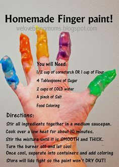 homemade finger paint! This would be awesome with the kids!