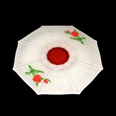 Vintage Milk Glass Cake Stand with Red Rose by PrimaTreasures