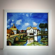 """Oil Painting, Copy of Alfred Sisley artwork """"Le pont de Moret"""" 1893 (Musée d'Orsay, Paris), Wall Art Canvas, 50cm(w) x 40cm(h) by AngelinaRunkovaArt on Etsy"""