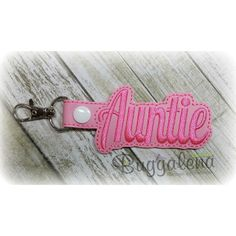 Auntie Snap Tab Key Fob Embroidery Design-Key Fobs / Snap Tabs Designs