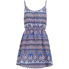 New Look Summer dress (86 HRK) ❤ liked on Polyvore featuring dresses, vestidos, robe, short dresses, blue, blue spaghetti strap dress, pattern dress, spaghetti strap summer dress and blue dress