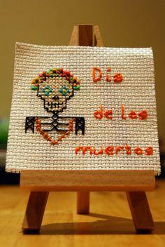 Día de los Muertos (Day of the dead) cross stitch.
