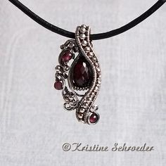 wire wrap pendant sliders | ... Studio — Theodora Slide Pendant in Sterling Silver and Garnet #4729