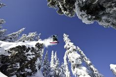 Dylan Ball leaping into the forest in the White Pass Backcountry