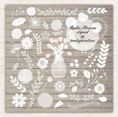 Rustic flowers clipart by burlapandlace on Creative Market