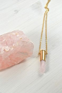 LOVE - Patronenhülse mit Rosenquarz, gold | Crystal and Sage