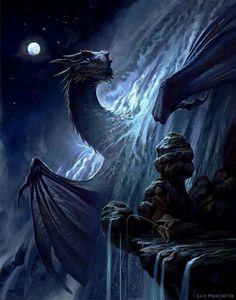 Dragon in the waterfall / nightfall / fantasy / mythical beast Fantasy Artwork, Fantasy Paintings, Digital Art Fantasy, Digital Paintings, Watercolor Paintings, Fantasy Wesen, Fantasy Animal, Dragon Medieval, Cool Dragons
